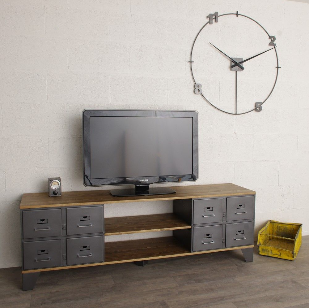 Meuble Tv Industriel Con U Avec Des Tiroirs M Talliques Restaur S  # Grand Meuble A Tiroir Cd Dvd Video