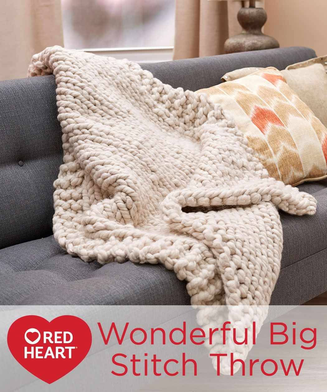Wonderful Big Stitch Throw Free Knitting Pattern In Red