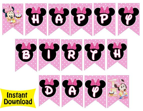 Baby Minnie Mouse Happy Birthday Banner INSTANT DOWNLOAD 1st Party Supplies Pink And Red Dress Polka Dots