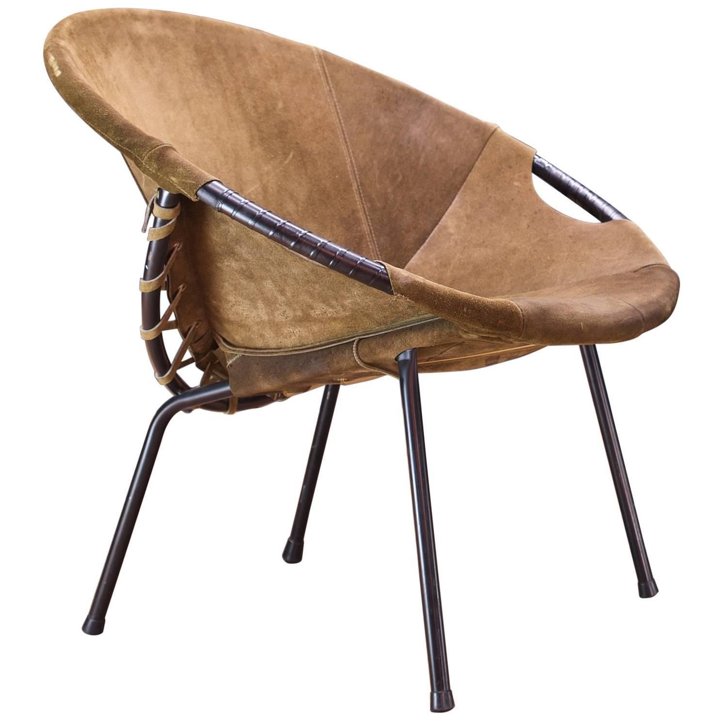 MidCentury Lusch Circle Chair Olive Brown Suede Leather