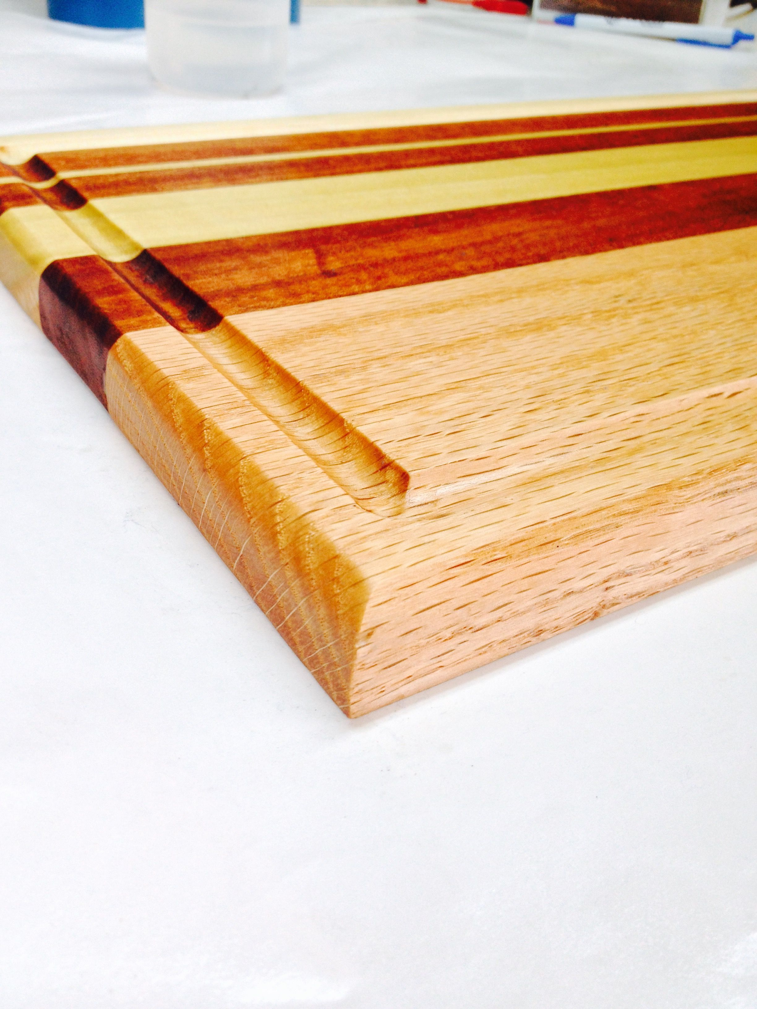 Wood Cutting Board Poplar Oak And Mahogany With A Mineral Oil Finish