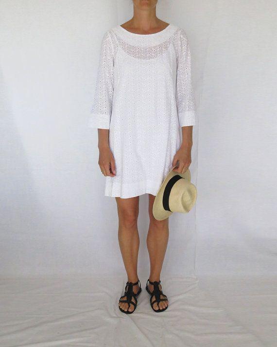 White Anglais Tunic Dress: small, medium on Etsy, $50.00