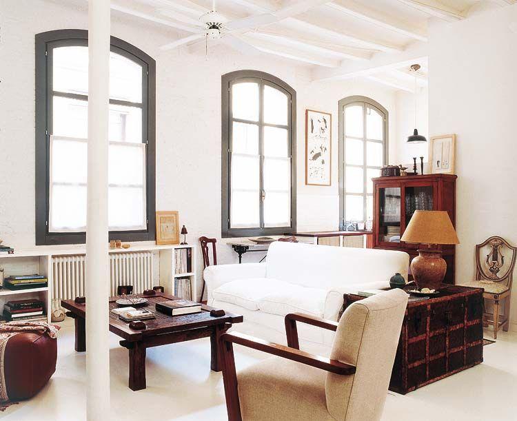 My leitmotiv: un loft en blanco y madera salones pinterest