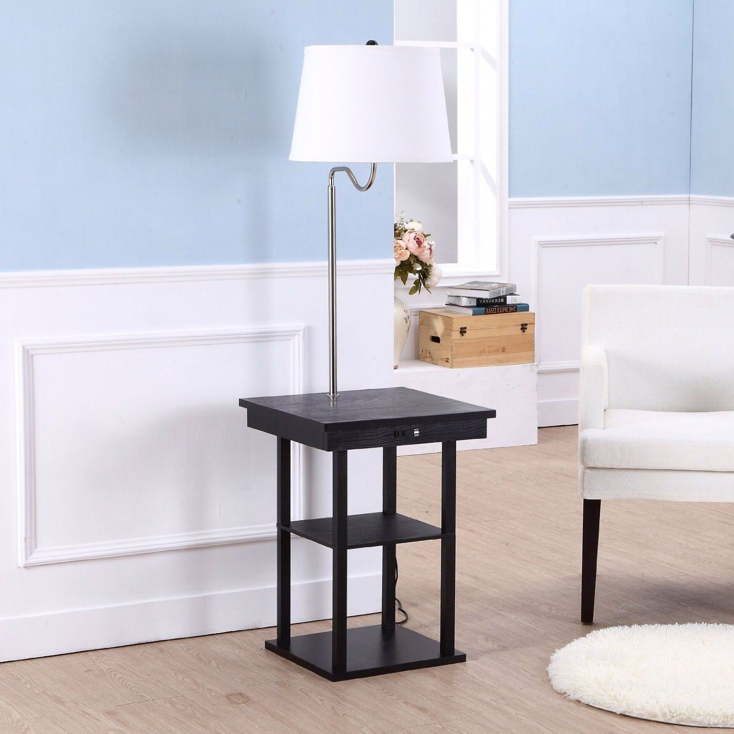 2 In1 Modern Side Table Floor Lamp With White Shade And Usb Ports In 2021 Modern Side Table Floor Lamp Table Column Floor Lamp Side table with built in lamp