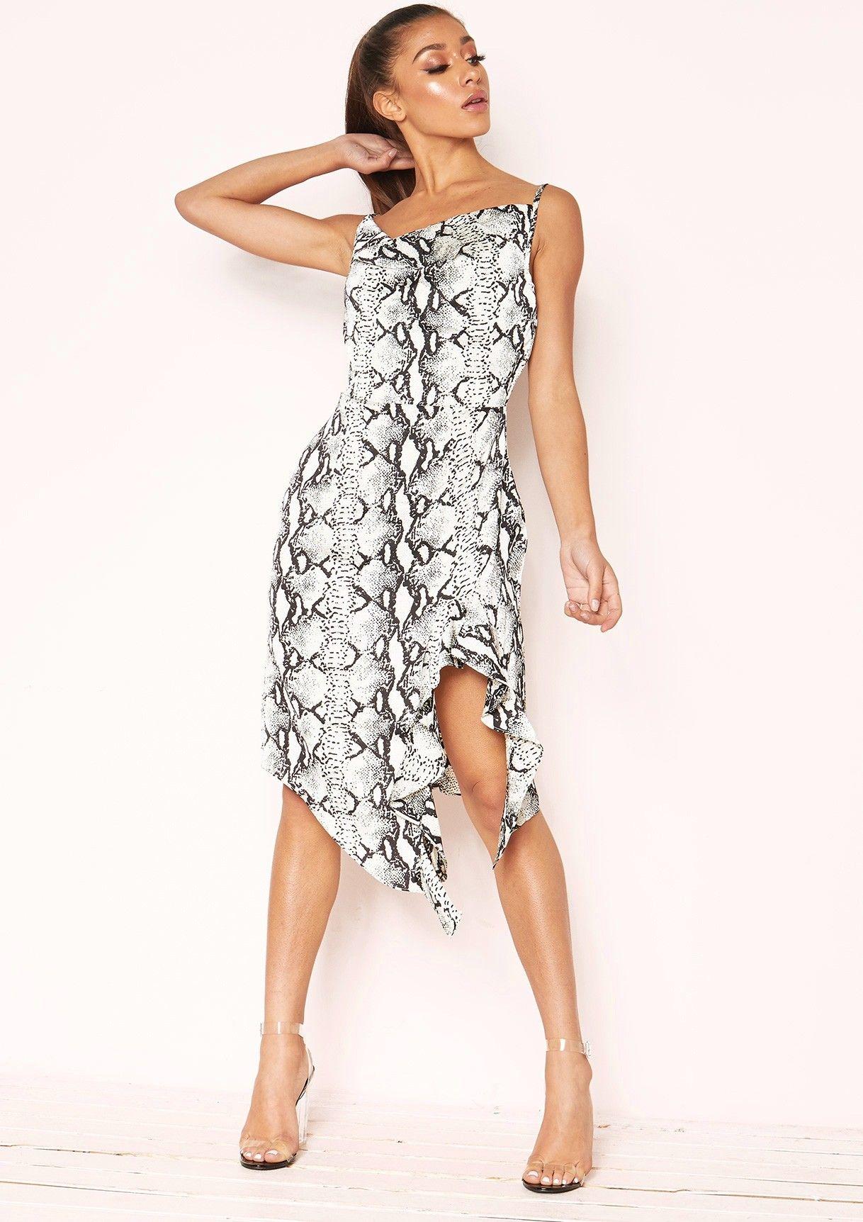 93de3e02f0d Missyempire - Ola Snake Print Cowl Neck Frill Dress
