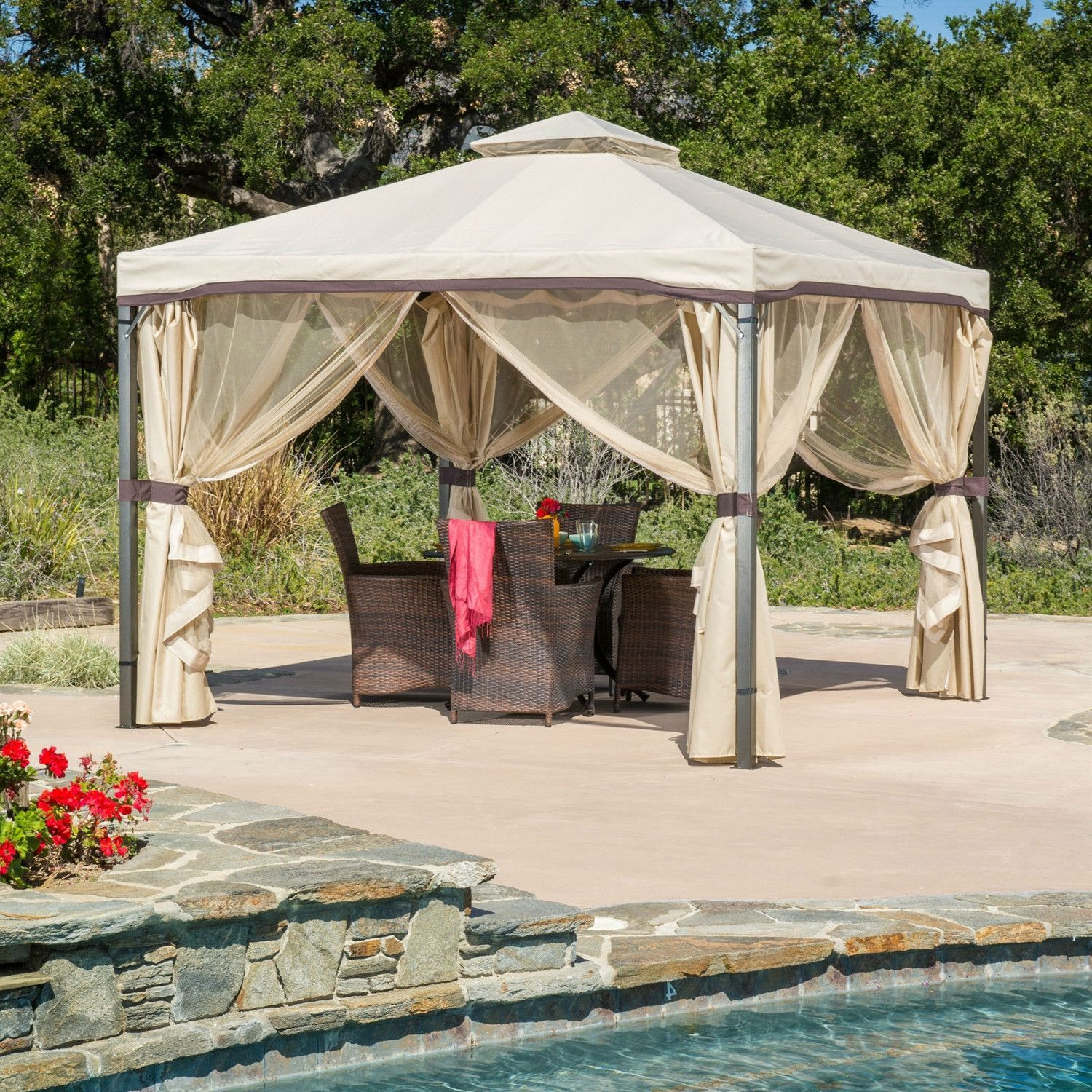 10ft X 10ft Steel Frame Gazebo With Polyester Canopy And Screen In Beige Outdoor Gazebos Gazebo Roof Canopy Outdoor