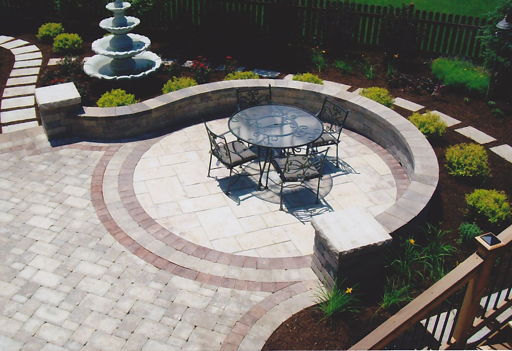 backyard patio ideas patio paver innovative brick paver designs for patio also a set of vintage wrought iron outdoor furniture above flanders weavers - Paver Patio Design Ideas