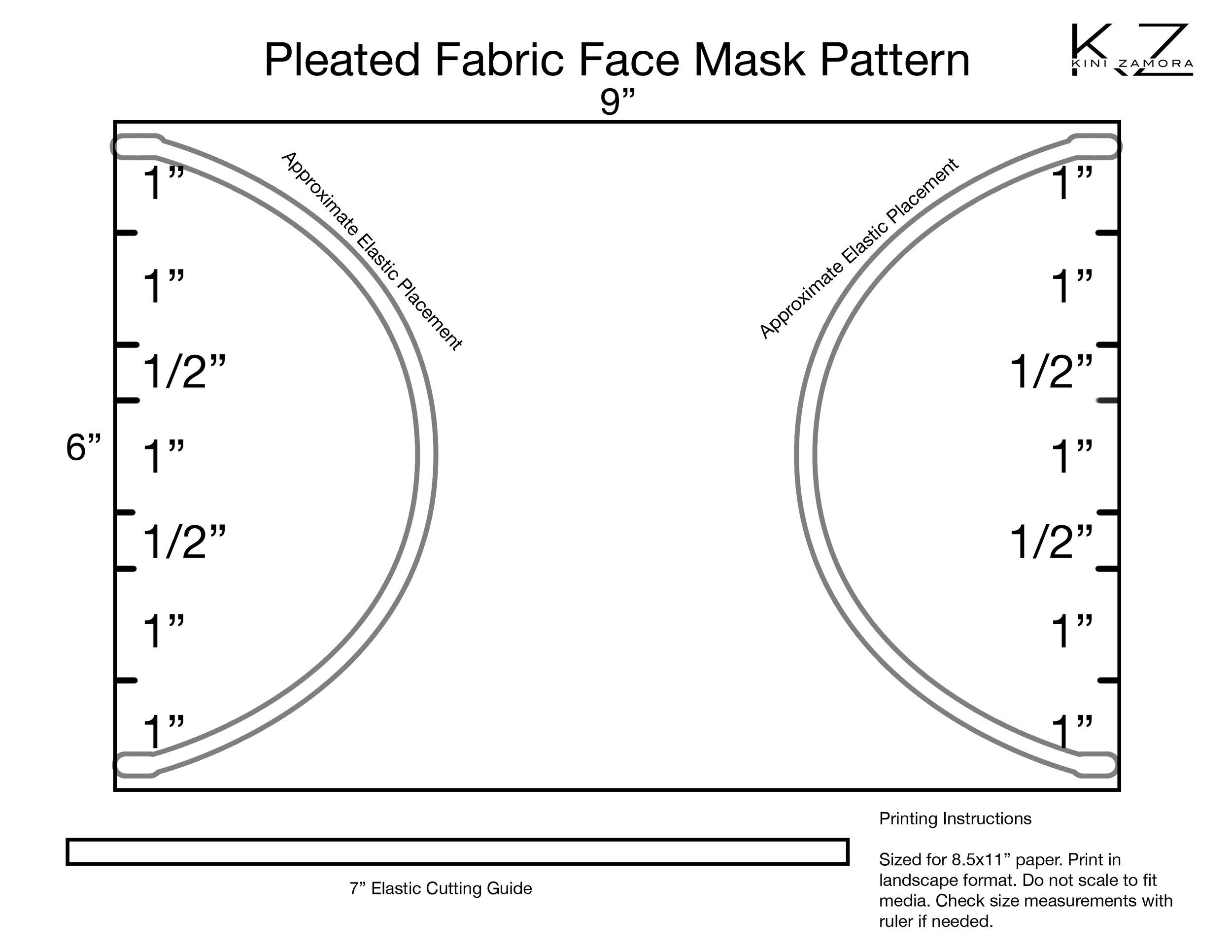 Simple Surgical Style 3 Pleats Face Mask Pattern In 2020 Face