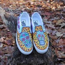 5245f3e4bd5b sugar skull and cheetah pattern custom designed Vans classic slip on shoes