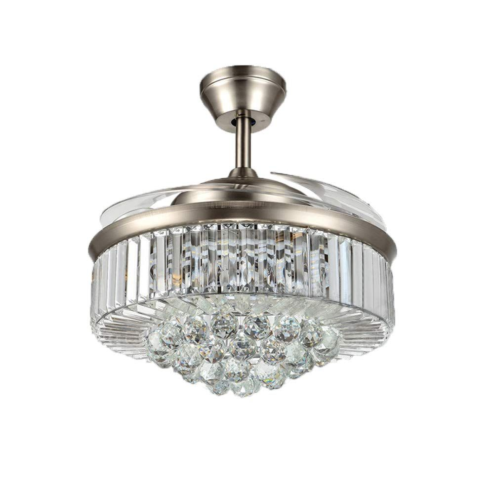 Orillon Modern Crystal Chandelier Ceiling Fan Light With 4 Retractable Blades And Remote For I Ceiling Fan With Light Silver Ceiling Fan Ceiling Fan Chandelier