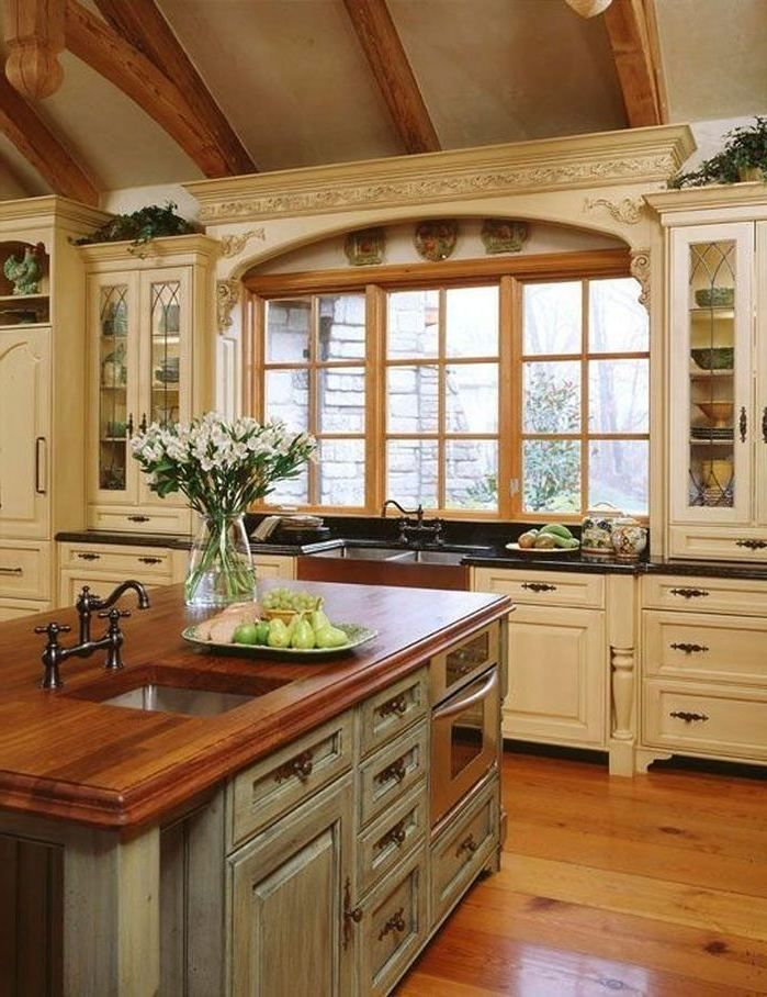 rustic french country kitchen backsplash French Country Kitchen Pictures White Wooden Kitchen