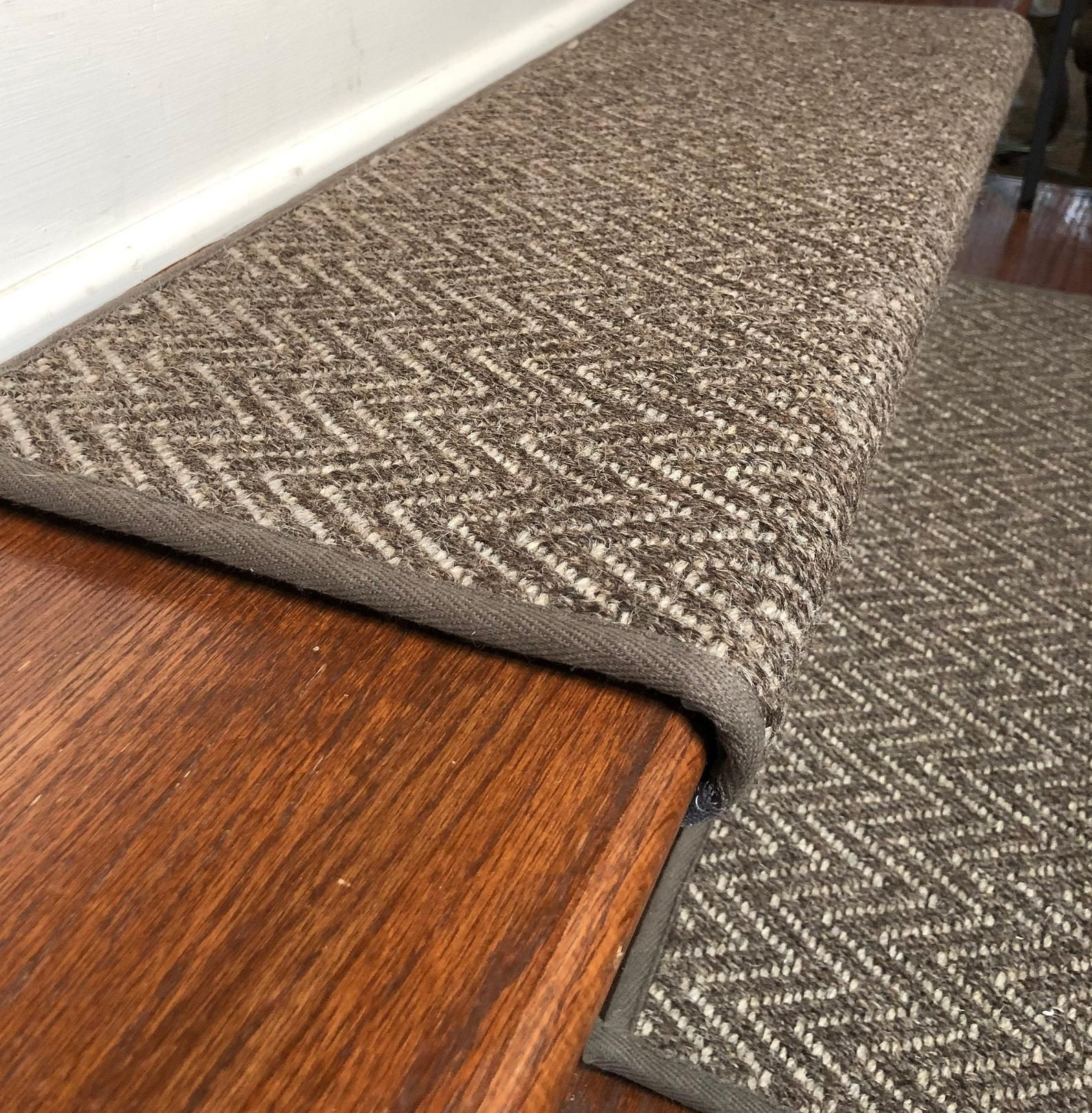 Best Padded Wool Stair Treads Aspen Color Moose Stair 400 x 300