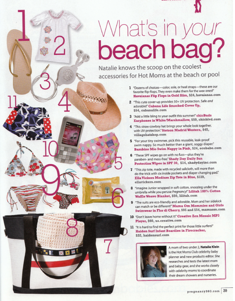 Whats in your beach bag ! Magazine feature by Hollywood Hot Moms ... 04e05fa415571
