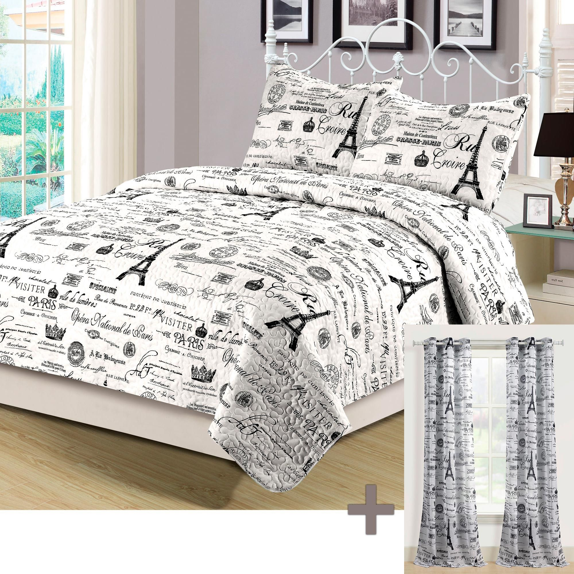 Beatrice Paris King Quilt Set With Matching Curtains 5 Piece
