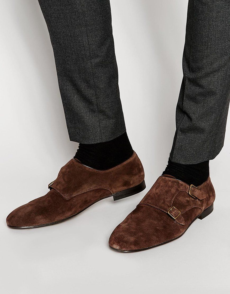 Buy Men Shoes / River Iceland Brown Roxy Monk Strap Shoes In Suede