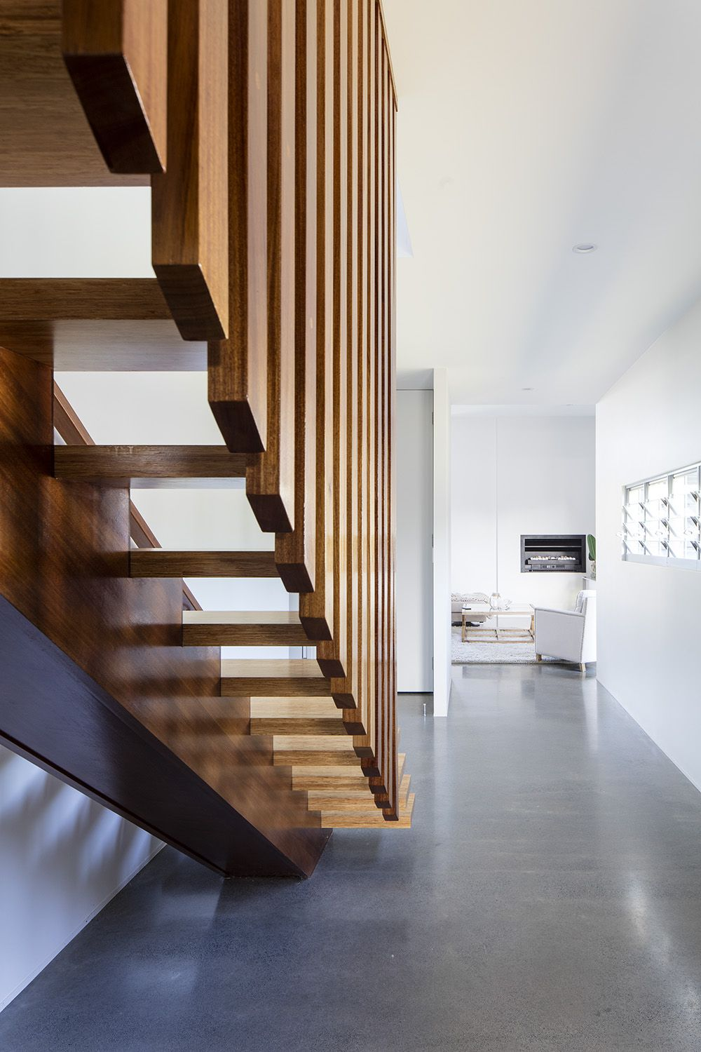 Custom wooden staircase design by immackulate designer homes the dicky beach project located on sunshine coast qld australia also rh pinterest