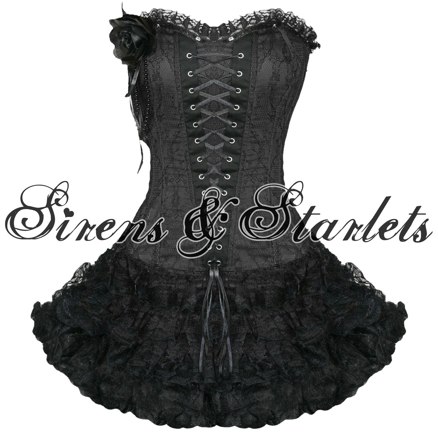 Ladies womens new black gothic emo burlesque corset lace prom party