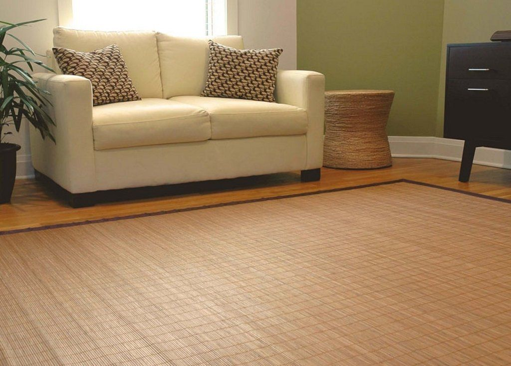 Hogar y Mas Alfombra de Salón Living de Bambú Marrón para