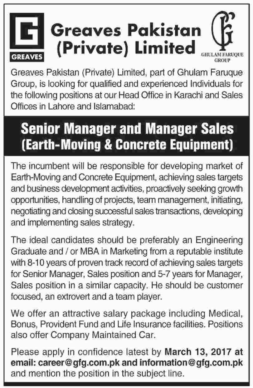 Greaves Pakistan Pvt Limited Jobs Opportunity  Feb   Jobs