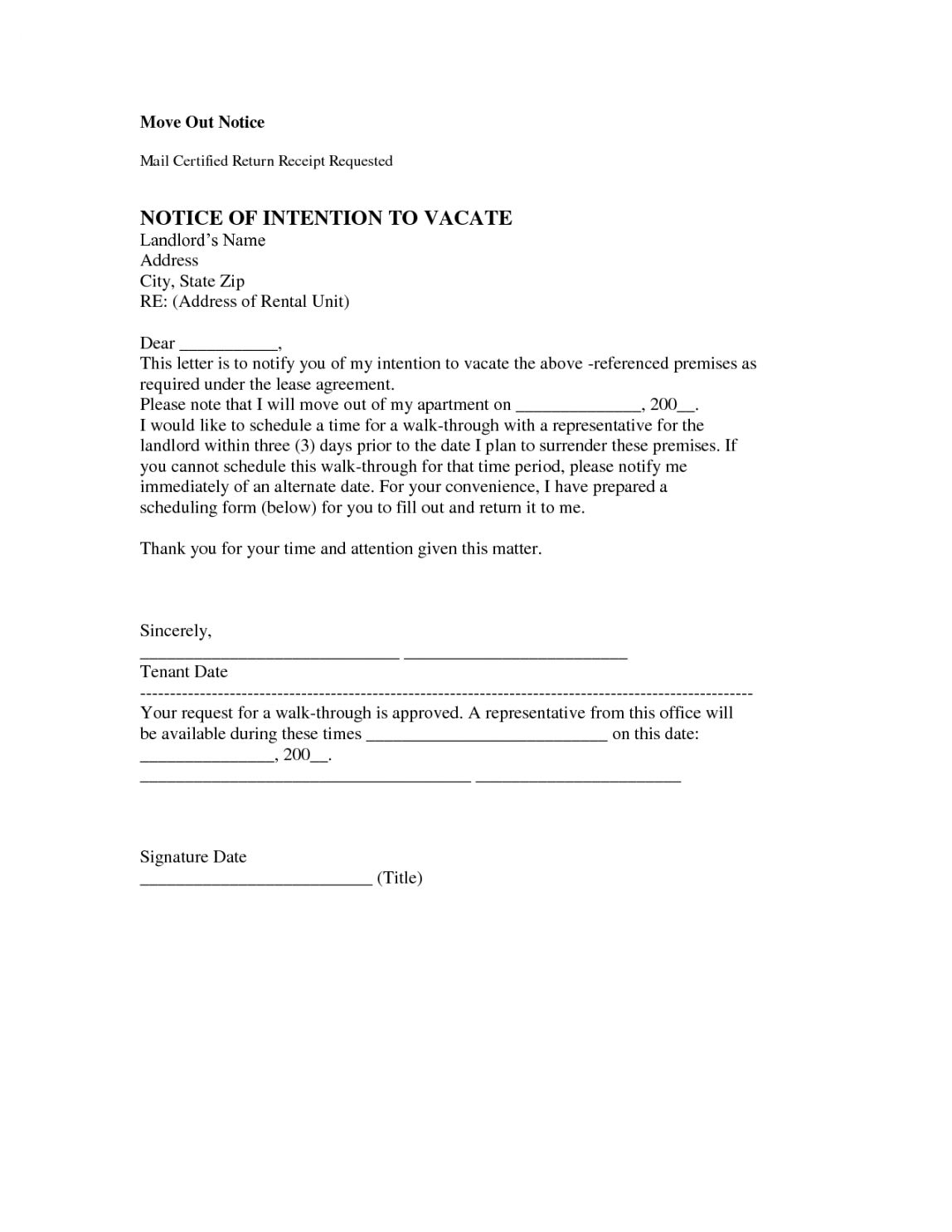 Explore Our Sample Of Template For Notice To Vacate Apartment Being A Landlord Lettering Move Out Notice