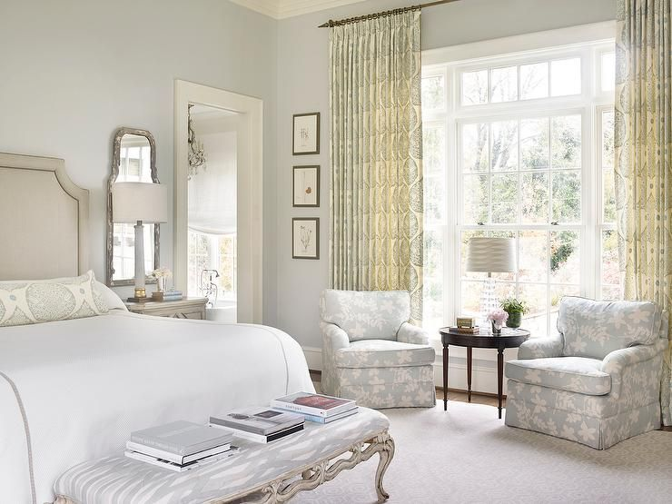 One Long curtain rod for both windows, seating area in front of window, light Colors