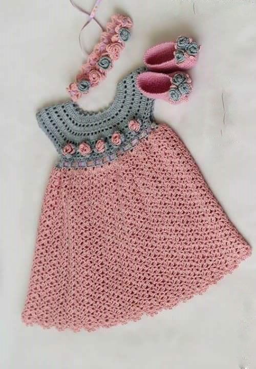 Beautiful Dress Girls Pink Crochet Yarn