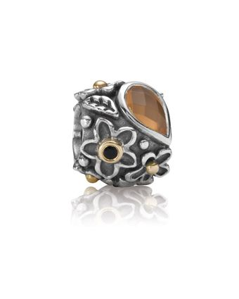 1539d1dc0 Pandora Silver/14Kt Dew Drops on Flowers Onyx/Orange Moonstone Charm  Available at: www.always-forever.com