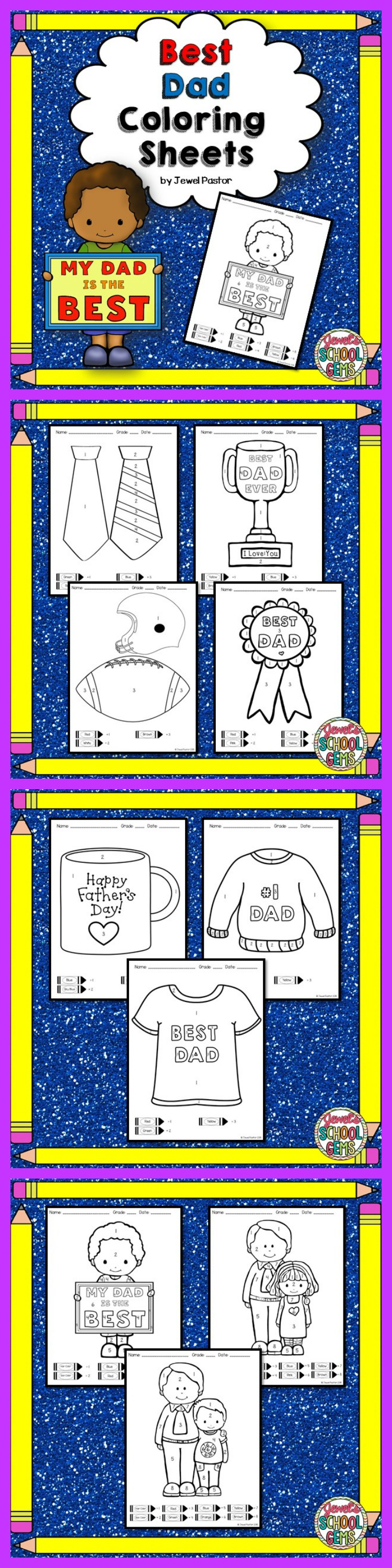 "Fathers Day : Fathers Day Coloring Sheets |  ""Best Dad Coloring Sheets"" is the perfect activity for your students this Father's Day. Just print the sheets and you are ready to go! Students color the picture through the key given at the bottom of each sheet."