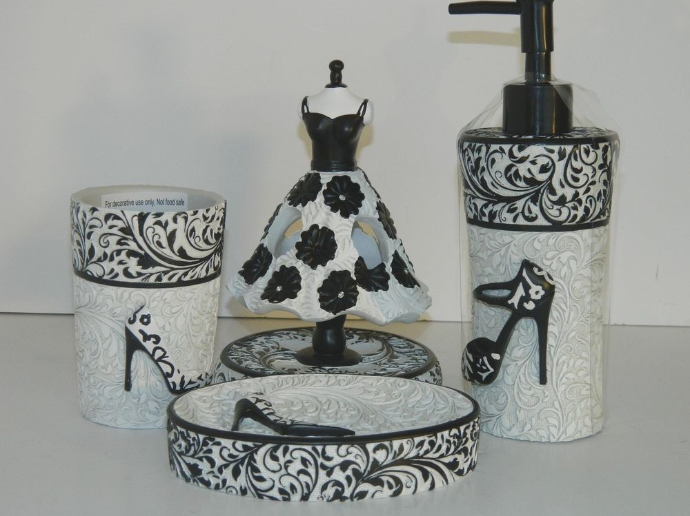 NEW Diva Ivory/Black Chic 4 Pc Gift Set Bath Accessory Bathroom Decor