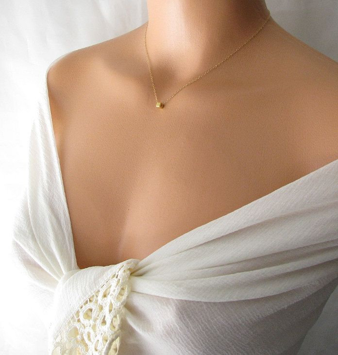 delicate gold necklace, tiny cube necklace 14k gold filled chain necklace, simple necklace, square necklace, dainty jewelry. $24.00, via Etsy.