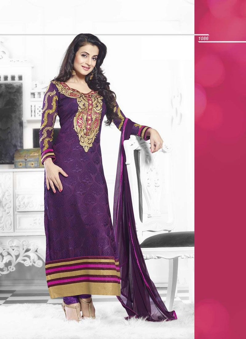 Purple Cotton Bollywood Pakistani Indian Designer Anarkali Salwar Kameez Churida