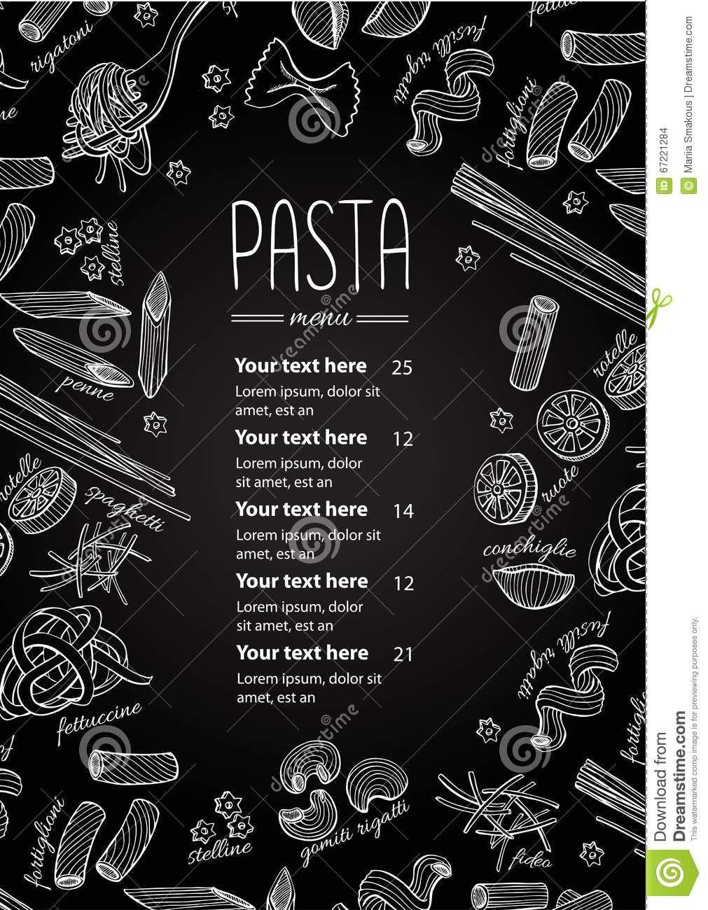 Menu Disegnato Mano Della Pasta Lavagna Di Vettore Illustrazione Chalk Restaurant