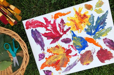 Grab Those Fall Leaves For These Colourful Painted Prints is part of Kids Crafts Canvas Leaves - This craft is a great way for kids to get arty outdoors and to experiment with printmaking  It's also a fun way for young children to learn to identify the trees and plants that grow in their yard