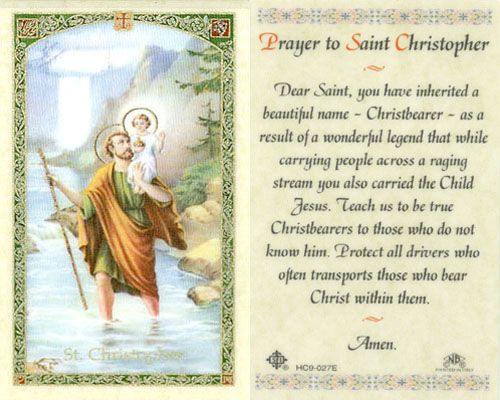 The Christopher Prayer Laminated Holy Card St