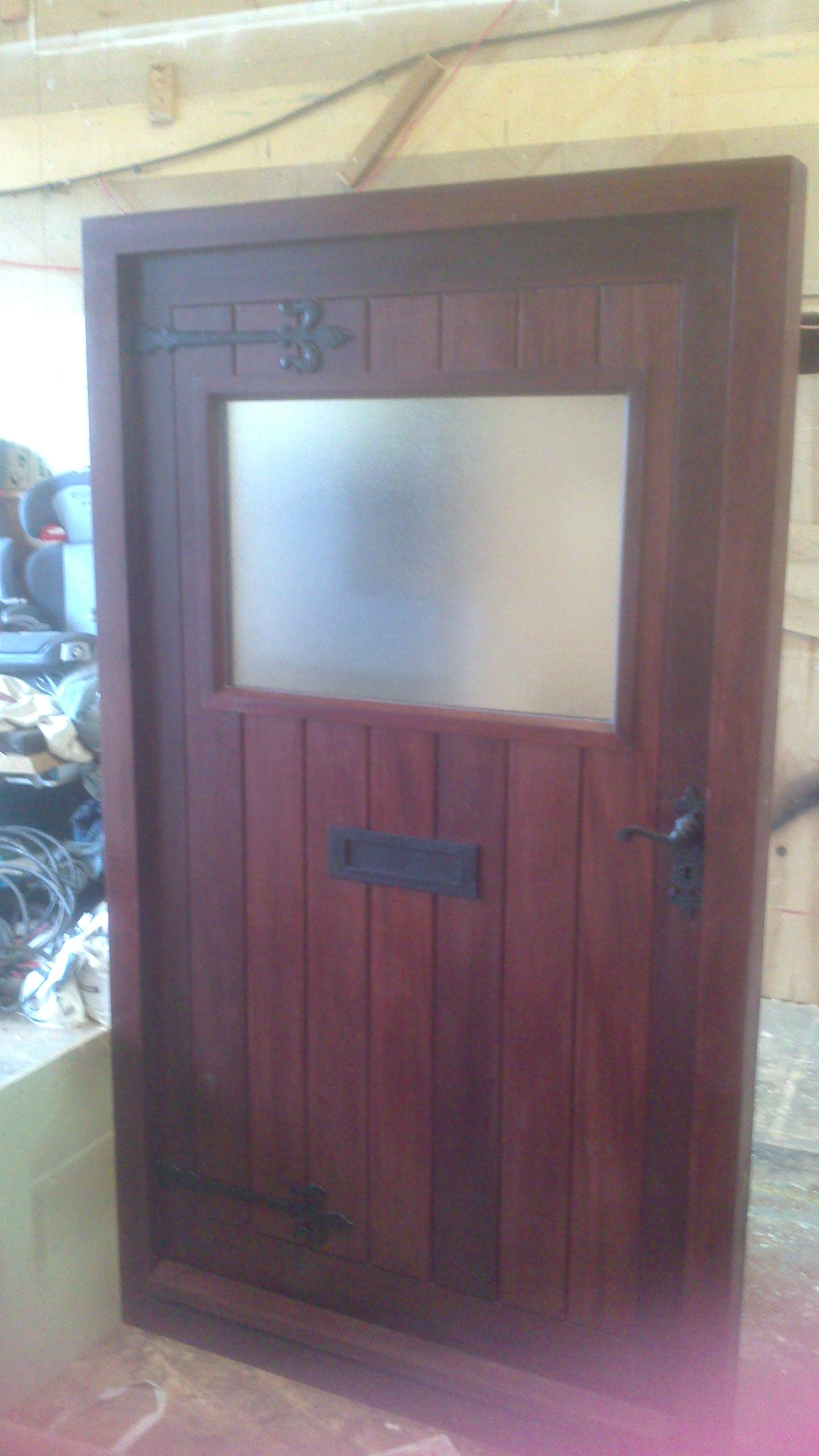 Sapele door with extra large obscured glass viewing panel