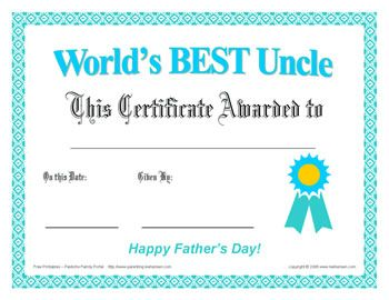 best uncle fathers day certificate free print award happy fathers day cards dad rocks