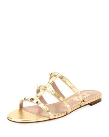 50843006f VALENTINO Rockstud Leather Flat Slide Sandal