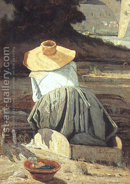 The Washerwoman 1860 Painting By Paul Camille Guigou Reproduction 1st Art Gallery Art Painting Paris Canvas