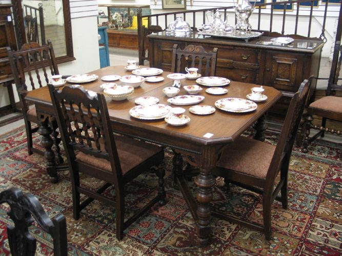 1920s Comprising Rectangular Extension Dining Table With Three Leaves A Set Of Six Spindle Back Chairs Long Sideboard China Cabinet Panel