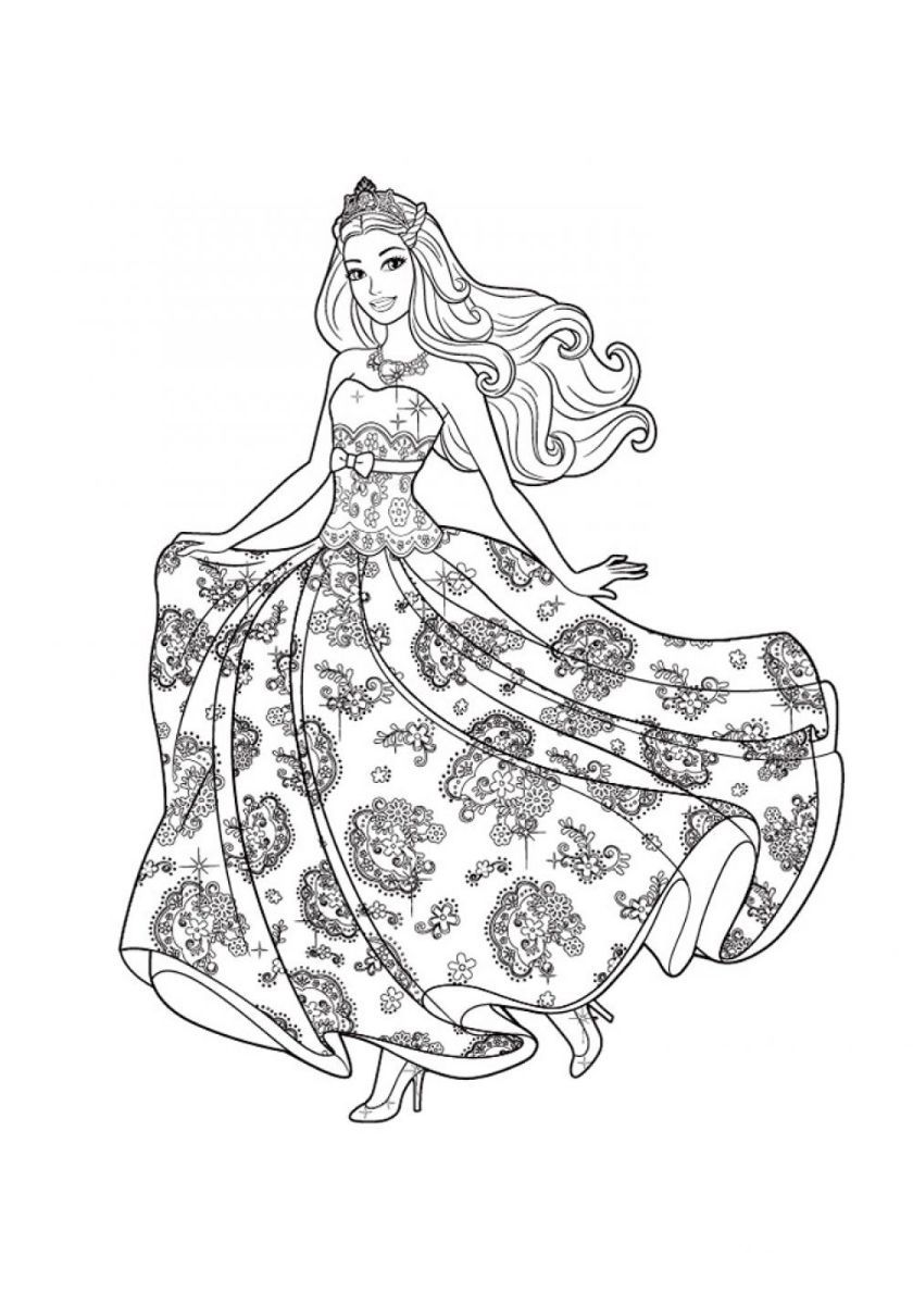 Ball Gown High Quality Free Coloring From The Category Barbie More Printable Pictures On Our Barbie Coloring Pages Barbie Coloring Princess Coloring Pages In 2021