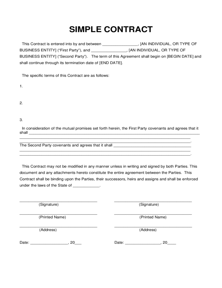Simple Contract Sample Construction Agreement Free Samples Printables Pdf