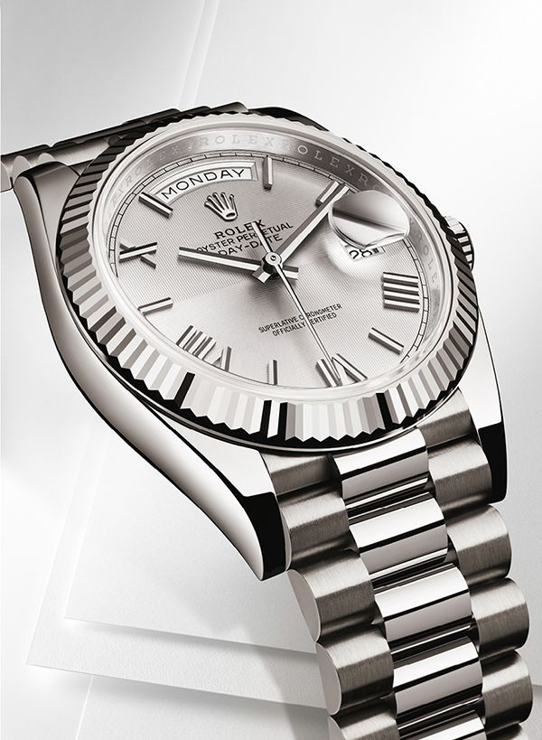 715b290ba8e The Rolex Day-Date 40 in 18ct white gold with a fluted bezel