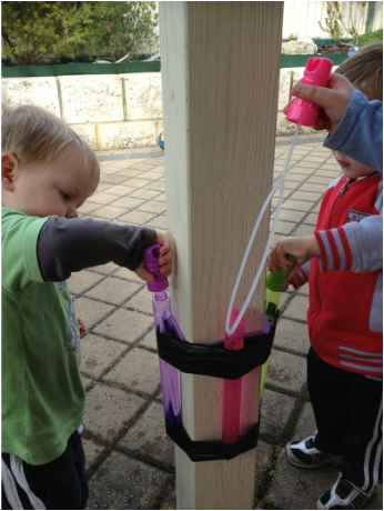 Bubble mix doesn't last long in the hands of a child... Create a bubble station to provide a solution.  This is so clever!!!