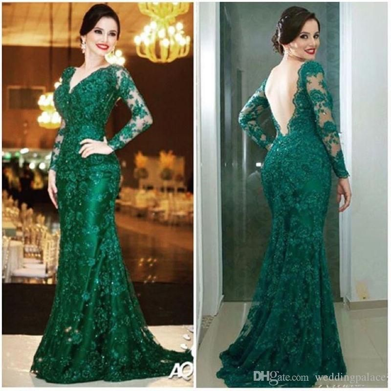 Fancybridesmaid Offers High Quality Emerald Green Sheer Long Sleeve Embellished Wedding Dress With Train Priced At Only Usd 160 00 Free