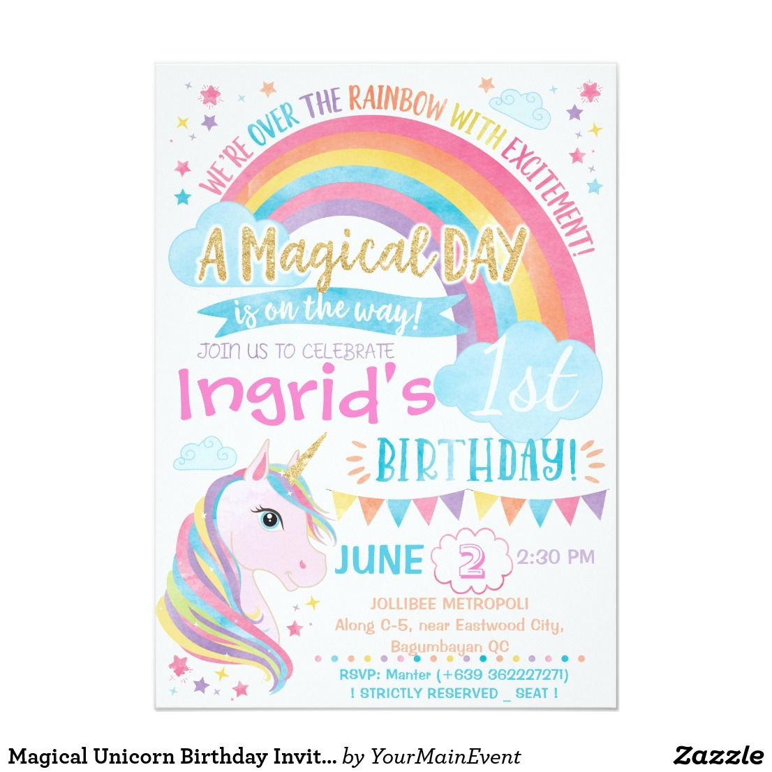 Invitation Magical Unicorn Rainbow Birthday