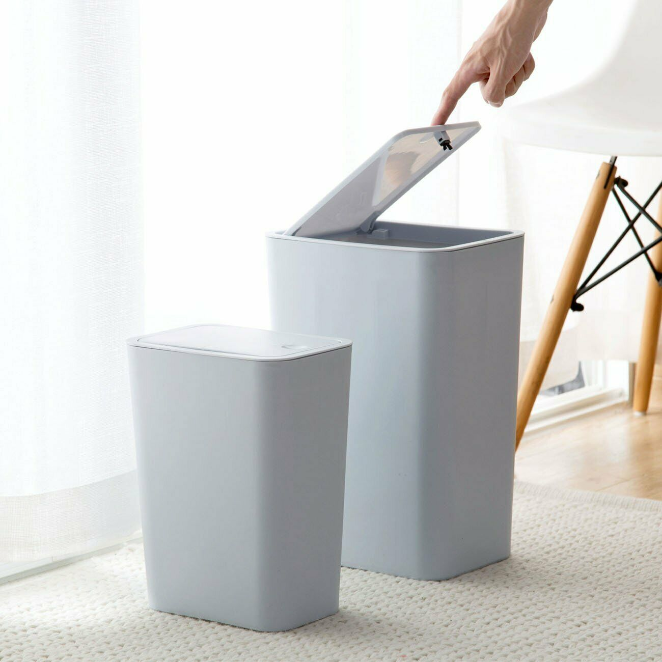 Touch Lid Slim Trash Can Garbage Rubbish Bin Wastebasket Toilet