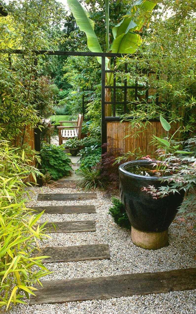 Side passage planted in oriental style. Railway sleeper and gravel ...