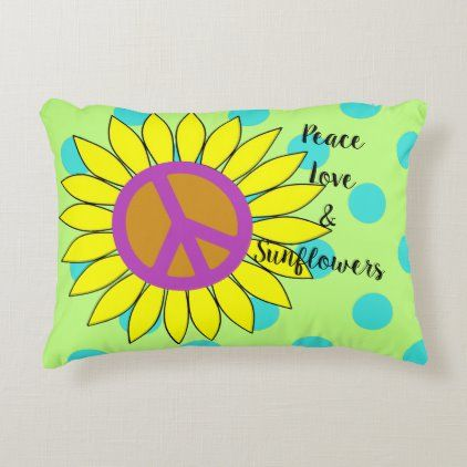 Peace Love & Sunflowers Accent Pillow