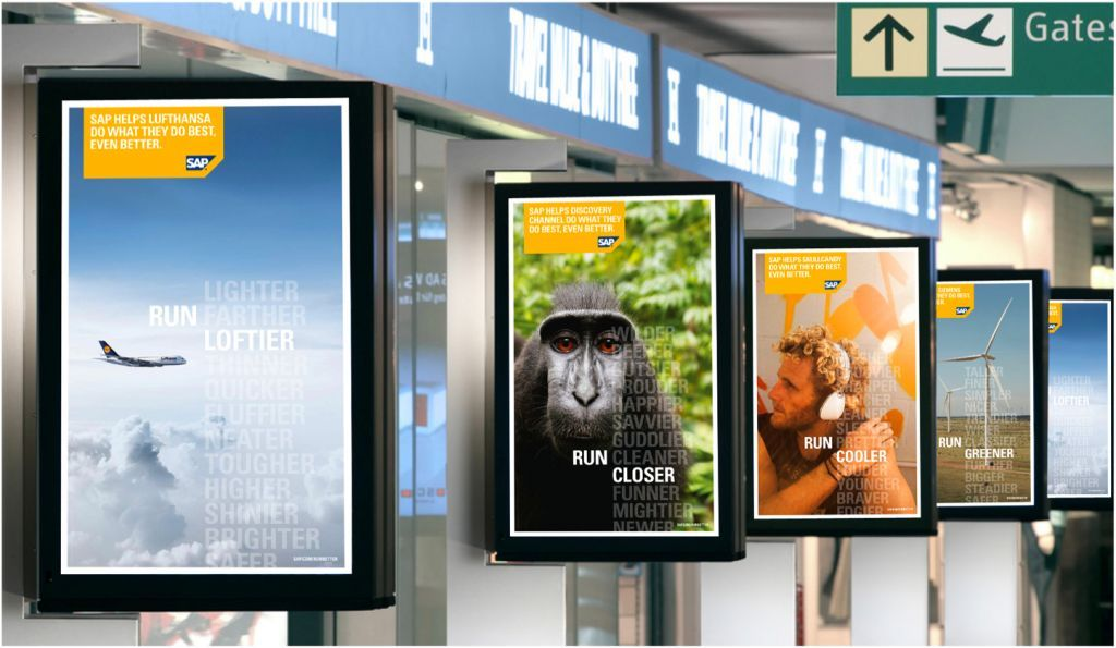 Airport advertising locks in the gaze of travellers in many vibrant ways