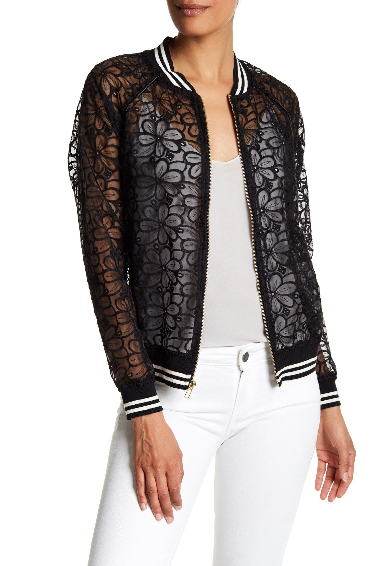 Embroidered Lace Bomber Jacket
